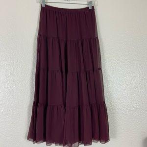 Linea Boho style Sheer Lined Maxi Skirt XS